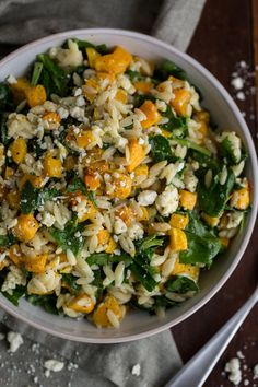 Orzo with Butternut Squash, Spinach, and Blue Cheese Recipe. Looking for healthy plant based recipes and ideas to cook with roasted squash? Forget soup! This cold weather comfort food is a delicious, quick and easy weeknight pasta salad dinner. You'll need squash, whole wheat orzo, spinach, garlic, and bleu cheese.