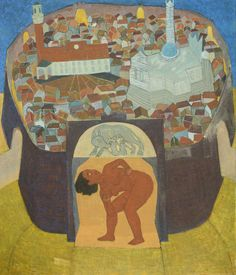 "Mequitta Ahuja, Siena, Oil on Canvas, 84""X72"" 2014"