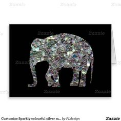 Sparkly colourful silver mosaic Elephant Black Greeting Card by #PLdesign #SilverMosaic #ElephantGift #SparklesCard