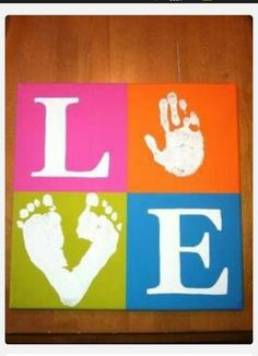 Super easy craft for you and the kids to make for grandparents, parents aunts and uncles, etc. I love this one. Get 4 small canvasses from the dollar store. Paint in solid colors and allow to dry. I would use stencils for the L and E and obviously hands and feet for the O and V