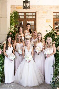 Bride with Bridesmaids in Long Blush Dresses | Photo: Samuel Lippke Studios. View More:  http://www.insideweddings.com/weddings/elegant-alfresco-ceremony-ballroom-reception-in-dallas-texas/930/