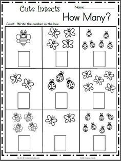 math Count the Cute Insects - Free Math Worksheet for kindergarten and preschool. Get ready for kindergarten by practicing counting and writing numbers up to 7 with this free worksheet. Pre K Math Worksheets, Counting Worksheets For Kindergarten, Printable Preschool Worksheets, Kids Math Worksheets, Writing Worksheets, In Kindergarten, Math Activities, Free Printable, Seasons Worksheets