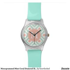 Monogrammed Mint Coral Diamond Ikat Pattern Watch
