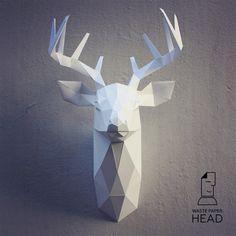 Papercraft deer head 3 printable DIY template