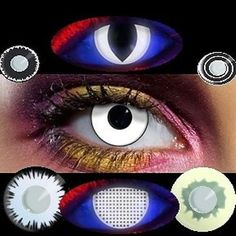 Kontaktlinsen schwarz Weiß Linsen vampire Dämon halloween lens party contact neu…