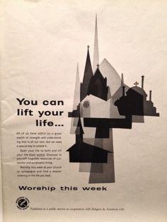 Religion PSA (Both Sides) Calvert Whiskey Page LIFE May 17 1963