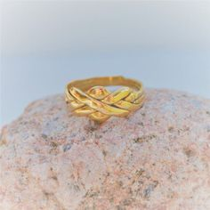 Vintage 14K Gold Puzzle Ring  Unique Wedding Ring  Yellow