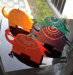 India themed party tags/tent cards/gift tags- set of 4- colorful Indian elephants on Etsy, $5.14