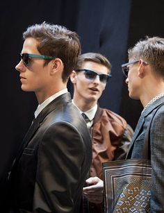 Splash Sunglasses and sharp tailoring backstage at the Burberry Prorsum S/S13 show