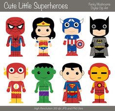 Digital clipart - Cute little Superheroes for Scrapbooking, Paper crafts, Cards… Superhero Classroom, Superhero Party, Hulk Party, Classroom Themes, Construction Cupcakes, Superhero Clipart, Superhero Cartoon, Superhero Pictures, Owl Card