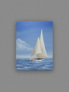 Sailboat Art Original Painting Nautical Decor 1216 inch Acrylic on Canvas Blue White Red Sailing Sail Boat Ocean Coastal Beach Lake Nautical Painting, Sailboat Painting, Lake Painting, Seascape Paintings, Watercolor Paintings, Original Paintings, Small Canvas Art, Mini Canvas Art, Sailboat Art