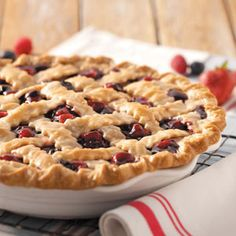 Ozark Mountain Berry Pie from Taste of Home. Looks so tasty and beautiful as well! Can't wait to try it. :)