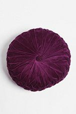 Urban Outfitters round pintuck pillow, Round pillows are so hard to find and sometimes a room has too many squared off angels in a room and a round pillow or oval frames of round table or rounded sofa or chair. Sewing Pillows, Diy Pillows, Accent Pillows, Decorative Pillows, Floor Pillows, Cheap Pillows, Pillow Ideas, Toss Pillows, Purple Pillows