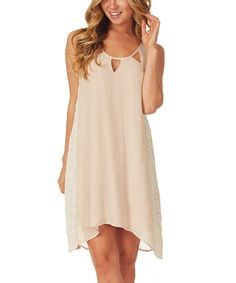 Another great find on #zulily! Beige Lace Hi-Low Dress by Pinkblush #zulilyfinds