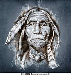 esboço, de, tatuagem, arte, retrato, de, indian americano, cabeça Ampliar Foto