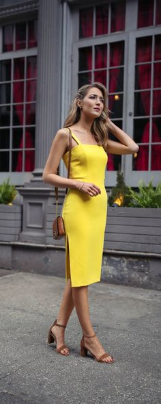 2414b49961c92 what to wear to a baby shower    lemon yellow sheath midi dress with thin  straps and side slit, brown suede leather block heel sandals
