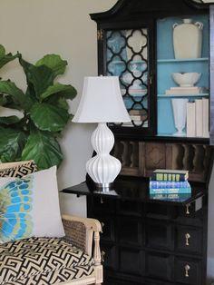 repaint old secretary black w/ turquoise interior) - Simple Details