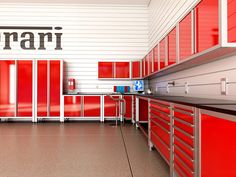 These Professional Series metal garage cabinets are beautifully detailed in automotive-quality powder coated surfaces.  Our premium finish projects a luxurious, deep gloss, shown here in Ferrari red for a client in Naples, Florida.  A signature design feature of the Pro Series cabinets are the exposed exterior frames.  With its indestructible 11-gauge vertical frame members and 16-gauge horizontal framing, no other metal cabinet in the world has a stronger foundation.  Premium-Grade…