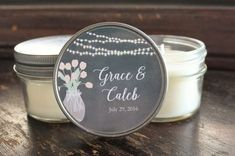Personalized for the perfect wedding treat! Set of 12 - 4 oz  Wedding Favor Candle//Hanging Lights and Mason Jar Favor/Rustic Wedding Favor//Personalized Wedding//Chalkboard Favors//