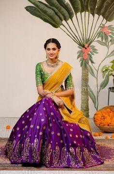 The Most Gorgeous South Indian Lehenga Saree Designs We Spotted! Lehenga Saree Design, Half Saree Lehenga, Lehnga Dress, Saree Look, Lehenga Designs, Banarasi Lehenga, Lehenga Skirt, Anarkali, Indian Lehenga