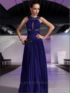 High Neck Sleeveless Floor-length Long Royal Blue Evening Dresses ED0247