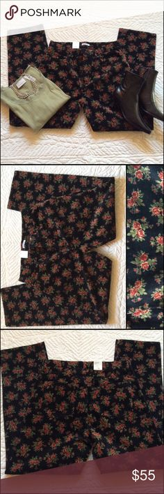 """Two Piece Set Jones New York/ Liz Claiborne Tags on pants but not the price tag. These are both NWT. The pants are a very fine pinwale corduroy that feels velvety. Pretty floral pattern, jeans style. 98% Cotton 2% Spandex Machine wash/dry inseam 31"""" Straight leg with a Mid rise waist.  ( tag list as a slim leg but definitely  a straight leg. Waist button is 35 1/2"""" The top is a size XL Sleeves are a 3/4 style and the length is 22"""" across the front only is 20"""". lace accent around the neckline…"""