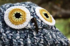 Wise Owl Medium Crochet Backpack Blue by iamnare on Etsy, $45.00