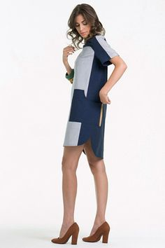 Vestido boxy c/ recortes - Cotton Span Buzios #dress #naturais #stripes #colorblock #fashion #summer #lookbook