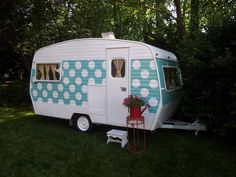 turquoise honeymoon camper
