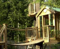 "Bainbridge Island, WA  Spring 2003  Built for Sunset's book ""Kids Places to Play,"" this is an example of how a treehouse can be built with all off the shelf materials (except for the salvaged windows, cedar pickets and 2 fabricated nave brackets). The route to the crows nest is thru a trap door. There is ample room for 2 kids in sleeping bags."