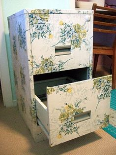Mod Podge fabric on file cabinets to make them unboring!
