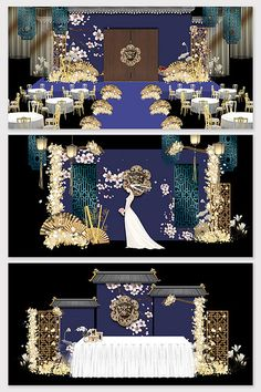 New Chinese blue palace court wedding stage renderings Wedding Backdrop Design, Wedding Stage Design, Wedding Stage Decorations, Table Decorations, Indian Wedding Receptions, Wedding Mandap, Wedding Table, Wedding Drawing, Peach Wedding Invitations