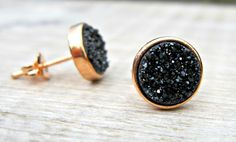 Rose gold earrings, black druzy earrings, black druzy studs, minimalist jewelry, bridal earrings, bridesmaid gift, great gatsby jewelry