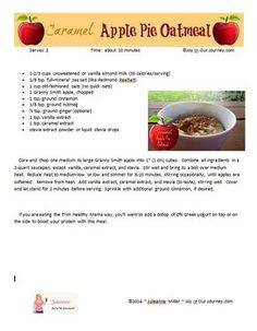 Caramel Apple Pie Oatmeal (no sugar, low-glycemic) - May the God of hope fill you with all JOY and peace