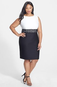 Free shipping and returns on London Times Pintuck Jersey Colorblock Sheath (Plus  Size) at 19531adf422