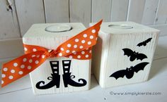 halloween 4×4 post luminaries...can see this with battery candles and some Christmas sayings or pictures from vinyl for Christmas!
