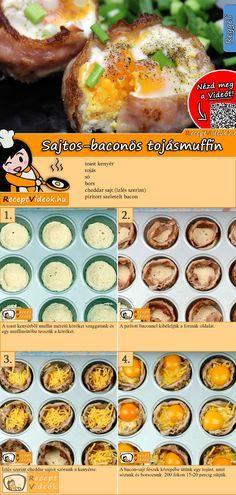 Ha valami gyorsat akarsz, mégis újat, különlegeset és finomat, próbáld ki a sajtos-baconös tojásmuffint! A Sajtos-baconös tojásmuffin recept videóját a kártyán levő QR kód segítségével bármikor megtalálod! :) #SajtosBaconösTojásmuffin #Tojásmuffin #Sajtos #Baconös #Muffin #ReceptVideók #Recept #Reggeli #ReggeliReceptek
