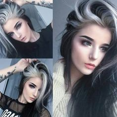 Hair color idea Luxy Hair Hair color for black hair, Dyed hair hair color streaks ideas - Hair Color Ideas Black White Hair, Hair Color For Black Hair, Black Hair Blonde Streak, Black Hair Chalk, Blonde Brunette, Raven Hair Color, Edgy Hair Colors, White Ombre Hair, Black And White Makeup