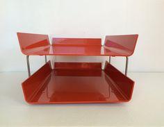 Vintage DUK-IT Orange Plastic Double Stacked Desk by NVMercantile