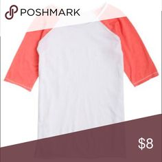 Delia's Pink Armed Baseball Tee Cute 3/4 sleeves! Fun fitted or oversized! It is slightly pilled so I am putting it on for very cheap💕 Tops Tees - Short Sleeve
