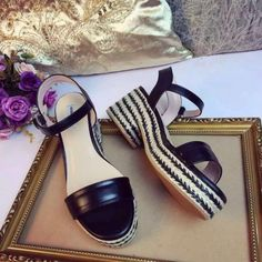 2016 Summer Miu Miu Nappa Leather Sandals Black with bicolor braided jute platform