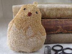Primitive needle punch bowl filler ~ Folksey Chick ~ Finished Spring Folk Art for your Primitive Decor - Handmade Gift