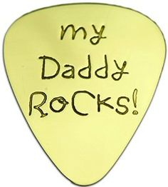 """Amazon.com: Unique & Custom [0.38mm Thin Gauge - Traditional Style Semi Tip] Hard Luxury Guitar Pick Made of Genuine Solid Brass w/ My Daddy Rocks Text Hand Written Font Design """"Gold Yellow Colored"""" {Single Pick}: Musical Instruments"""