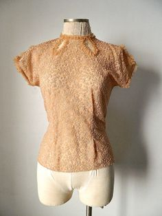 Vintage 1940s Keyhole Sheer Lace Ruffle Pink Salmon by SkinandWood, $50.00