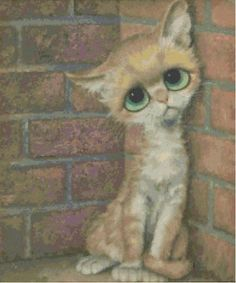 Margaret Keane: Mother of Big-Eye Art This was popular during my teen years and this kitty was my all time favorite! Big Eyes Margaret Keane, Keane Big Eyes, Big Eyed Animals, Cute Animals, Big Eyes Paintings, Abstract Paintings, Art Paintings, Photo Chat, Eye Art