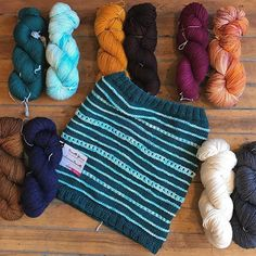 """tagged us on Instagram : A light-weight cowl project to ease you into fall knitting...The """"Cresta Cowl"""" (by our own Elizabeth) is a new sample using the merino/silk @biscotteyarns Pure DK - 1 skein of each of 2 colors is all you need!  #knitwityarnshop #portlandmaine #munjoyhill #biscotteyarns"""