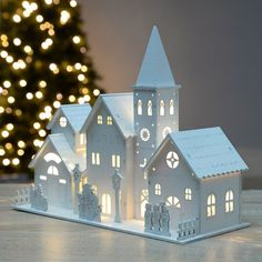 Pre-Lit Wooden Church Scene Illuminated with 4 LED Light - Informations About Pre-Lit Wooden Church Scene Illuminated with 4 LED Light Pin You can easily - Diy Christmas Village Displays, Christmas Villages, Christmas Home, Christmas Crafts, Christmas Decorations, Christmas Ornaments, Holiday Decor, Xmas, Cardboard Crafts