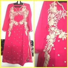 "Ethnic Pink Kurti with heavy Thread Work and hangings on the Slit. Fabric : georgette  Size : 42"" to 44"" Price : INR 1890 only. To order inbox or what's app on +919840640665 Follow us on www.facebook.com/beigebliss"