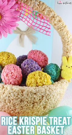 Rice Krispie Treat Easter Basket Centerpiece made from Rice Krispie Treats - a unique and lovely centerpiece that you can make for your own Easter table! Easter Candy, Easter Treats, Easter Food, Easter Eggs, Easter Dinner, Easter Brunch, Candy Centerpieces, Easter Centerpiece, Homemade Rice Krispies Treats