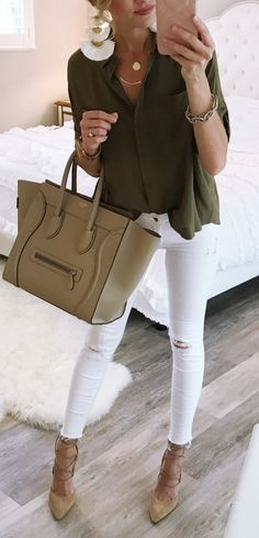 #winter #outfits olive-green blouse and white jeans